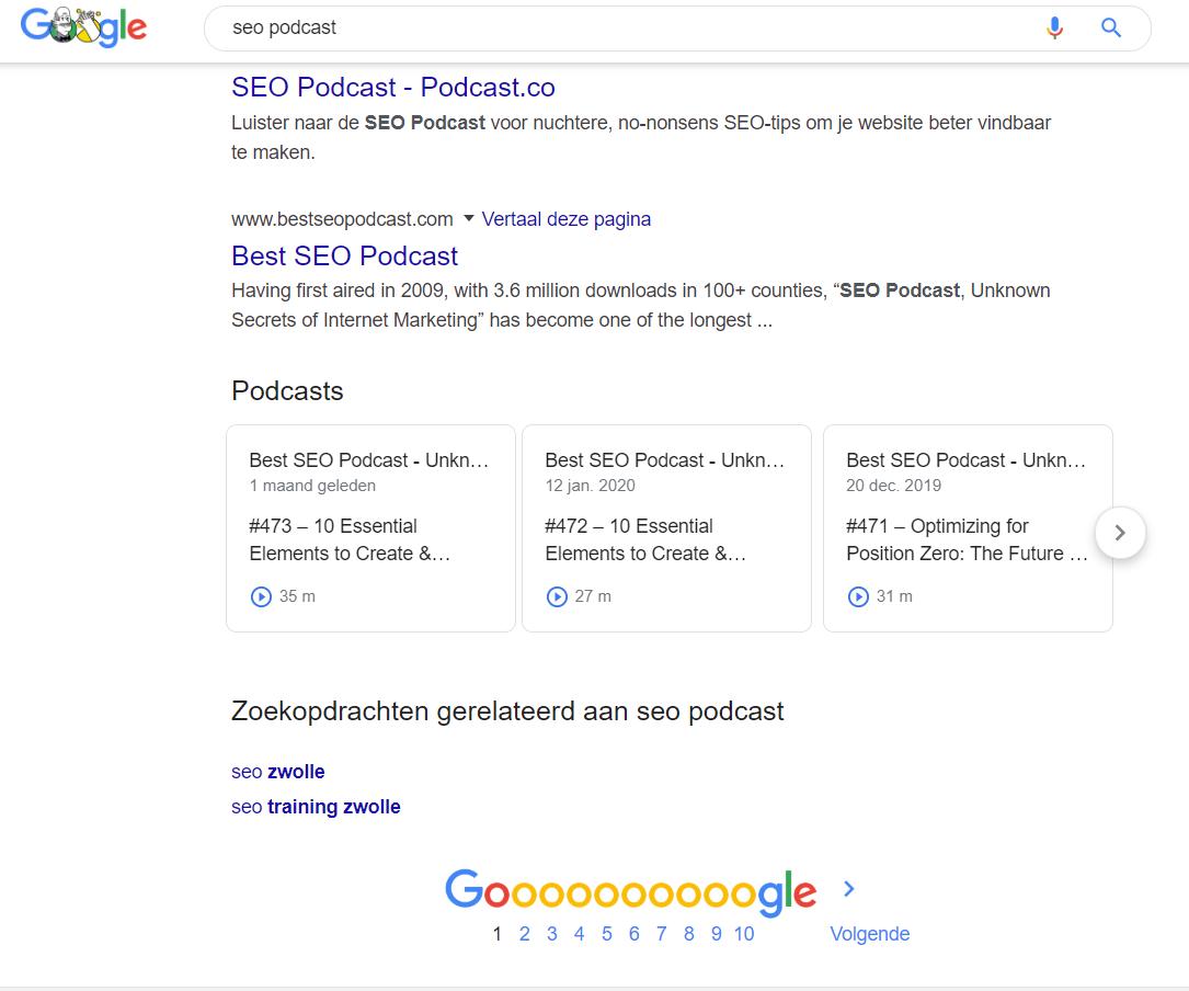 Podcasts in zoekmachine voorbeeld