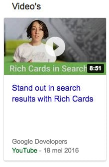 Video rich card snippet